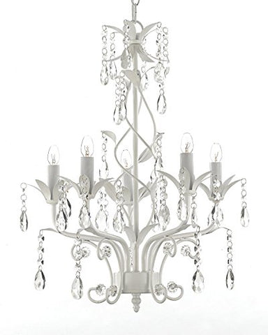 "Wrought Iron and Crystal 5 Light White Chandelier Pendant Lighting H20.5"" X W14.5"" Can be Hardwired or Plugged in ! - J10-SCL1529CW"