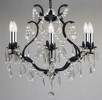 "Wrought Iron Empress Crystal (tm) Chandelier Lighting with Chrome Sleeves H19"" W20"" Swag Plug In-chandelier w/ 14' Feet of Hanging Chain and Wire - A83-B16/B43/3530/6"