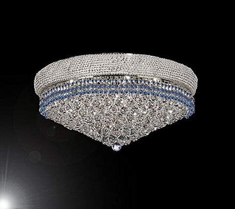 "Flush French Empire Crystal Chandelier Chandeliers Lighting Trimmed with Blue Crystal! Good for Dining Room, Foyer, Entryway, Family Room and More! H16"" X W30"" - G93-FLUSH/B83/CS/541/24"