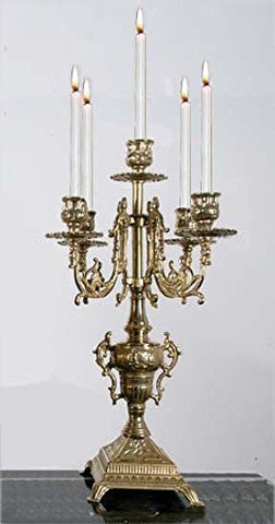 Solid Brass Baroque Candelabra Made in Italy! - GB101-447/BRASS