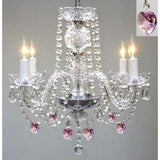"Swarovski Crystal Trimmed Chandelier Chandelier Lighting W/ Crystal Pink Hearts H 17"" W17"" Swag Plug In-Chandelier W/ 14' Feet Of Hanging Chain And Wire - Perfect For Kid'S And Girls Bedrooms - G46-B15/B21/275/4 Sw"