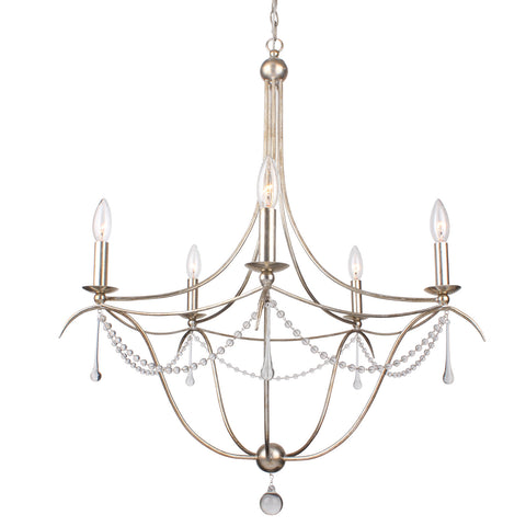 8 Light Antique Silver Modern Chandelier Draped In Clear Glass Beads & Murano Crystal - C193-428-SA