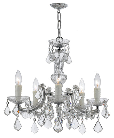 5 Light Polished Chrome Crystal Mini Chandelier Draped In Clear Swarovski Strass Crystal - C193-4376-CH-CL-S
