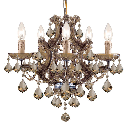 6 Light Antique Brass Crystal Mini Chandelier Draped In Golden Teak Hand Cut Crystal - C193-4405-AB-GT-MWP