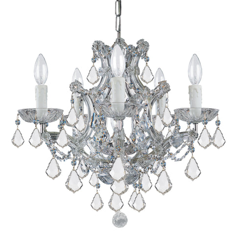 6 Light Polished Chrome Crystal Mini Chandelier Draped In Clear Swarovski Strass Crystal - C193-4405-CH-CL-S