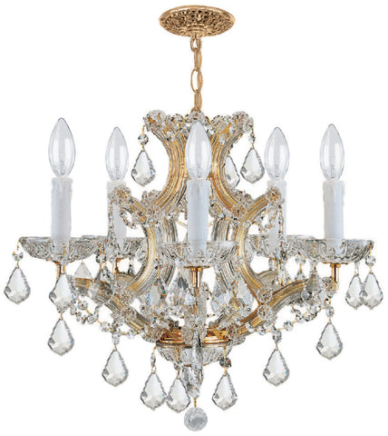 6 Light Gold Crystal Mini Chandelier Draped In Clear Swarovski Strass Crystal - C193-4405-GD-CL-S