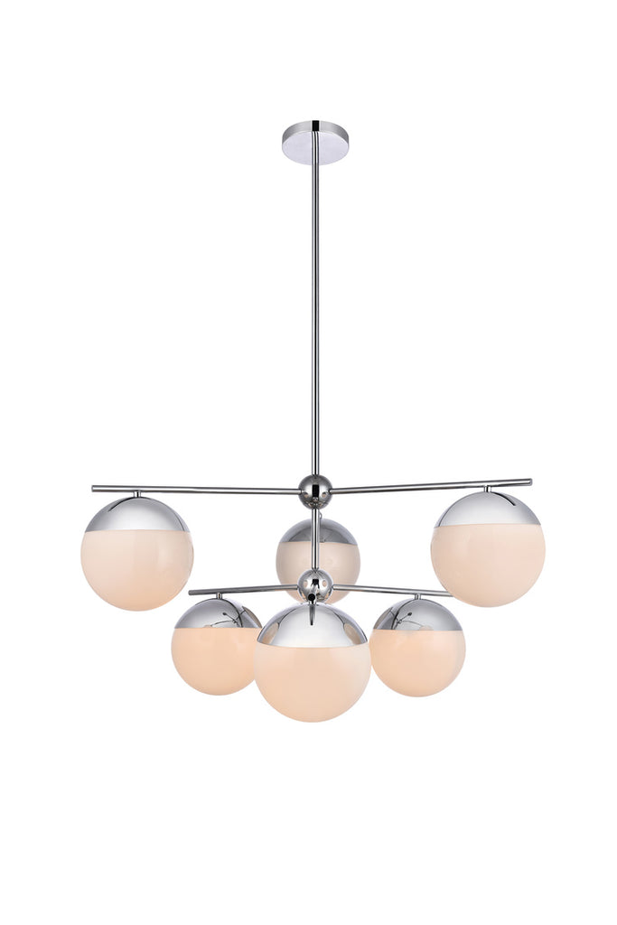 ZC121-LD6142C - Living District: Eclipse 6 Lights Chrome Pendant With Frosted White Glass