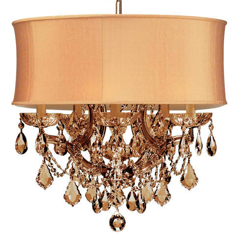 6 Light Antique Brass Traditional Mini Chandelier Draped In Golden Teak Hand Cut Crystal - C193-4415-AB-SHG-GTM