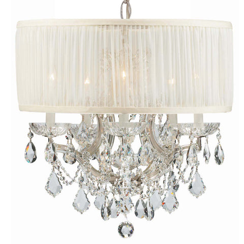 6 Light Polished Chrome Traditional Mini Chandelier Draped In Clear Swarovski Strass Crystal - C193-4415-CH-SAW-CLS