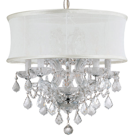 6 Light Polished Chrome Traditional Mini Chandelier Draped In Clear Hand Cut Crystal - C193-4415-CH-SMW-CLM