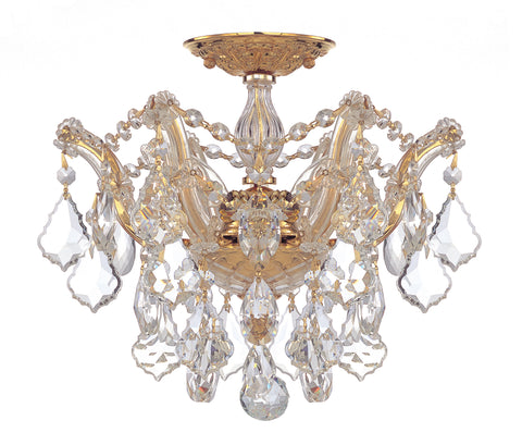 3 Light Gold Crystal Ceiling Mount Draped In Clear Hand Cut Crystal - C193-4430-GD-CL-MWP