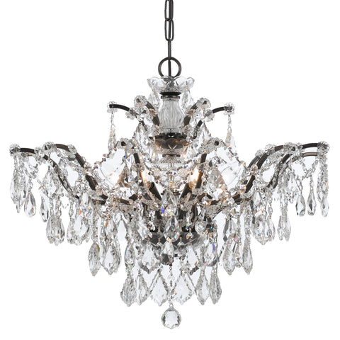 6 Light Vibrant Bronze Modern Chandelier Draped In Clear Hand Cut Crystal - C193-4459-VZ-CL-MWP