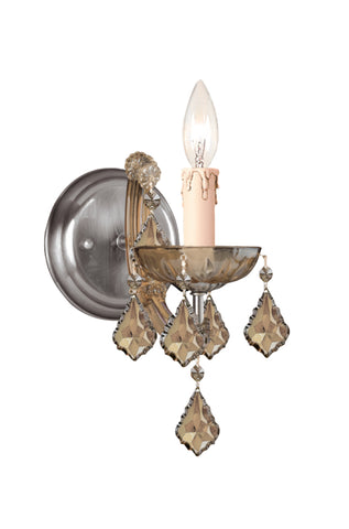 1 Light Antique Brass Crystal Sconce Draped In Golden Teak Hand Cut Crystal - C193-4471-AB-GT-MWP