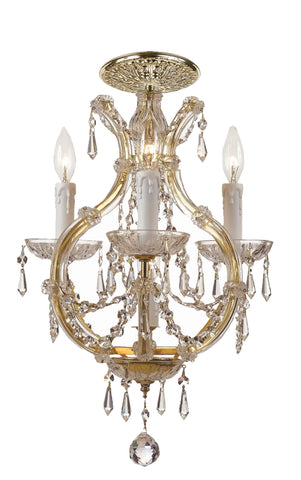 4 Light Gold Crystal Ceiling Mount Draped In Clear Hand Cut Crystal - C193-4473-GD-CL-MWP_CEILING