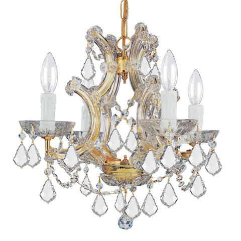4 Light Gold Crystal Mini Chandelier Draped In Clear Spectra Crystal - C193-4474-GD-CL-SAQ