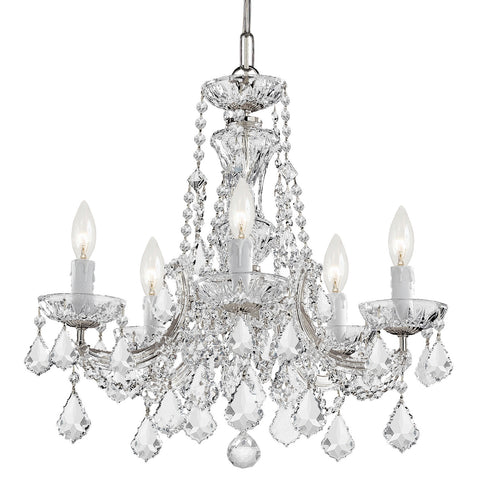 5 Light Polished Chrome Crystal Mini Chandelier Draped In Clear Swarovski Strass Crystal - C193-4476-CH-CL-S