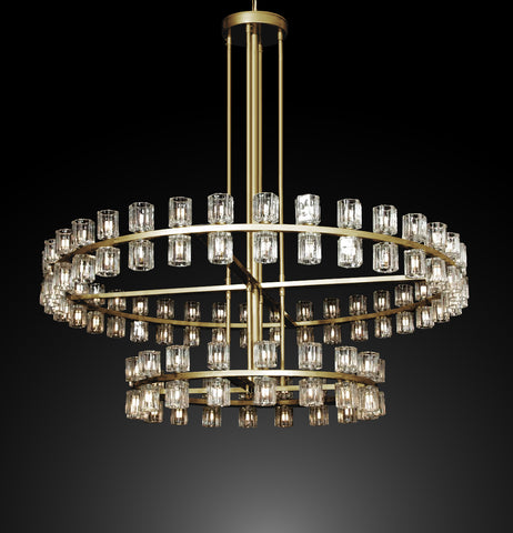 "Arcachon Round 2-Tier Chandelier Lighting 60"" Great For The Family Room, Living Room, Entryway, Foyer, And More - G7-CG/4511/108"
