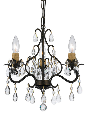 3 Light English Bronze Youth Mini Chandelier Draped In Clear Hand Cut Crystal - C193-4534-EB