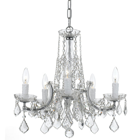 5 Light Chrome Traditional  Modern Chandelier Draped In Clear Hand Cut Crystal - C193-4576-CH-CL-MWP