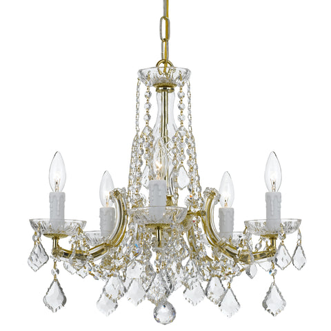 5 Light Gold Traditional  Modern Chandelier Draped In Clear Hand Cut Crystal - C193-4576-GD-CL-MWP
