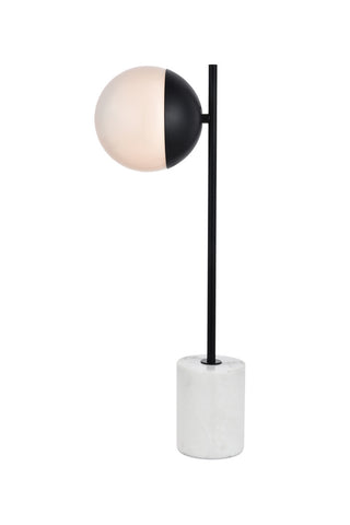 ZC121-LD6104BK - Living District: Eclipse 1 Light Black Table Lamp With Frosted White Glass