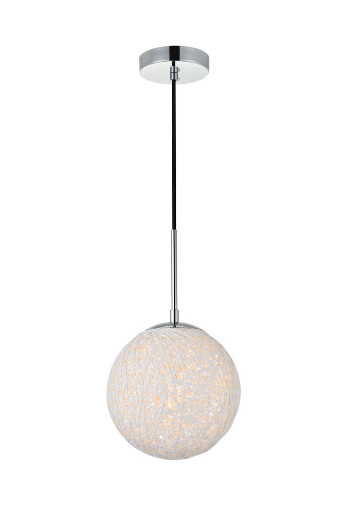 ZC121-LD2232C - Living District: Malibu 1 Light Chrome Pendant With Frosted White Glass