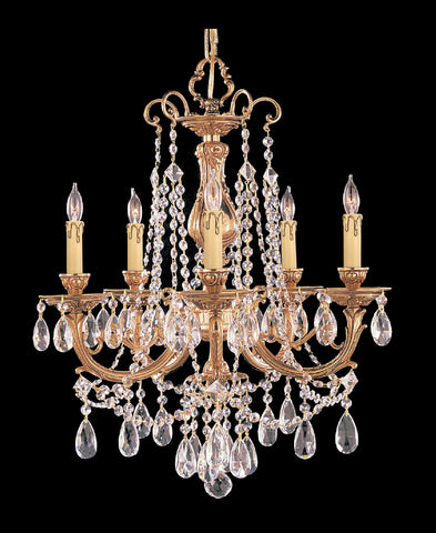 5 Light Olde Brass Crystal Chandelier Draped In Clear Hand Cut Crystal - C193-475-OB-CL-MWP