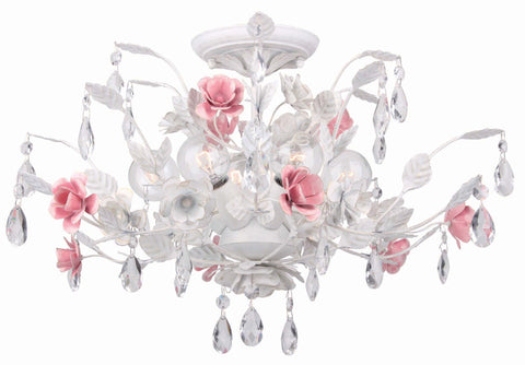 6 Light Wet White Floral Ceiling Mount Draped In Clear Hand Cut Crystal - C193-4850-WW