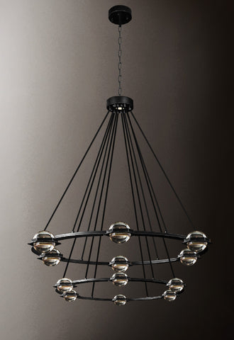 "Éclatantes Round 2 Tier Chandelier 38"" Lighting Chandeliers with LED Lighted Crystal Orbs - Great for The Living Room, Dining Room, Foyer and Entryway, Family Room, and More! - G7-CB/4853/18+12"