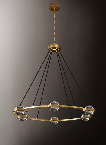 "Éclatantes Round Chandelier 38"" Lighting Chandeliers with LED Lighted Crystal Orbs - Great for The Living Room, Dining Room, Foyer and Entryway, Family Room, and More - G7-CG/4853/18"