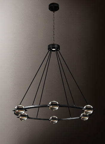 "Éclatantes Round Chandelier 38"" Lighting Chandeliers with LED Lighted Crystal Orbs - Great for The Living Room, Dining Room, Foyer and Entryway, Family Room, and More - G7-CB/4853/18"