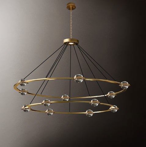 "Éclatantes Round 2 Tier Chandelier 50"" Lighting Chandeliers with LED Lighted Crystal Orbs - Great for The Living Room, Dining Room, Foyer and Entryway, Family Room, and More! - G7-CG/4853/30+24"