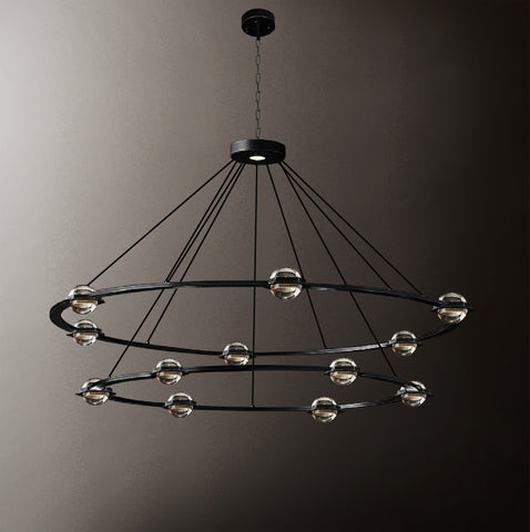 "Éclatantes Round 2 Tier Chandelier 50"" Lighting Chandeliers with LED Lighted Crystal Orbs - Great for The Living Room, Dining Room, Foyer and Entryway, Family Room, and More! - G7-CB/4853/30+24"