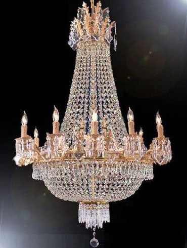 French Empire Crystal Chandelier Lighting 25X32 12 Lights - A93-1280/8+4