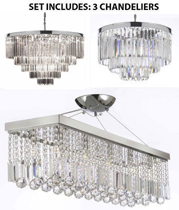 "Set Of 3- 1 Palladium Empress Crystal (Tm) Glass Fringe 3-Tier Chandelier & 1 Retro Palladium Crystal Glass Fringe Chandelier H25"" W33.5"" & 1 Contemporary Crystal Rectangular Chrome Finish H 21.5"" W 19.75"" - 1Ea 2164/9 + 1Ea 2164/18 + 1Ea 1120/10"