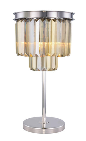ZC121-1231TL14PN-GT/RC - Urban Classic: Sydney 3 light Polished nickel Table Lamp Golden Teak (Smoky) Royal Cut Crystal