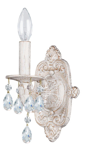 1 Light Antique White Youth Sconce Draped In Clear Hand Cut Crystal - C193-5021-AW-CL-MWP