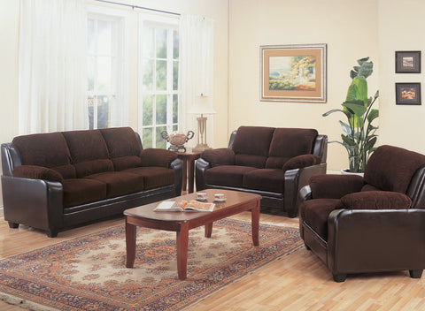 Set of 3 - Monika Upholstered Stationary Sofa + Loveseat +Chair Chocolate - D300-10015