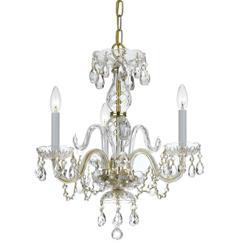 3 Light Polished Brass Crystal Mini Chandelier Draped In Clear Hand Cut Crystal - C193-5044-PB-CL-MWP