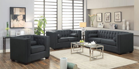 Set of 3 - Cairns Tuxedo Arm Tufted Sofa + Loveseat + Chair Charcoal - D300-10043