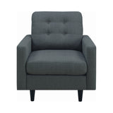 Set of 3 - Kesson Tufted Upholstered Sofa + Loveseat +Chair Charcoal - D300-10055