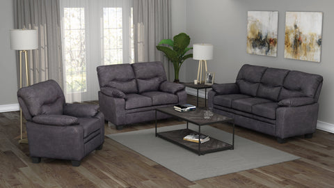 Set of 3 - Meagan Pillow Top Arms Upholstered Sofa + Loveseat + Chair Charcoal - D300-10073