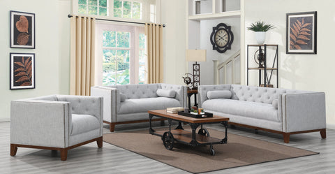 Set 3 - Celle Tuxedo Arm Tufted Sofa + Loveseat + Chair Light Grey - D300-10075