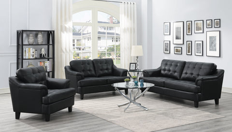 Set of 3 - Freeport Tufted Upholstered Sofa + Loveseat + Chair Black - D300-10078