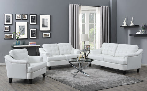 Set of 3 - Freeport Tufted Upholstered Sofa + Loveseat + Chair Snow White - D300-10080