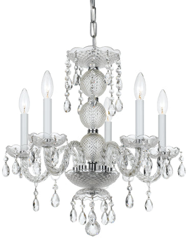 5 Light Polished Chrome Traditional Mini Chandelier Draped In Clear Hand Cut Crystal - C193-5095-CH-CL-MWP