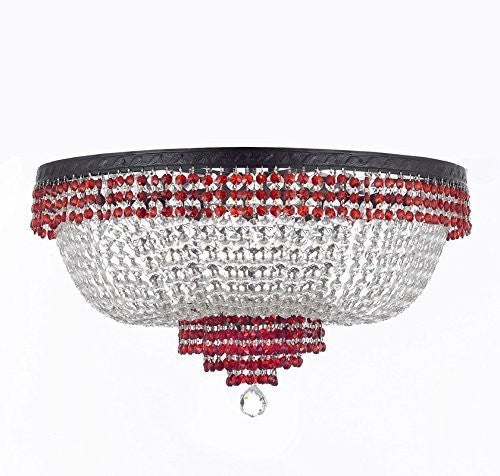 "French Empire Crystal Flush Chandelier Chandeliers Lighting Trimmed With Ruby Red Crystal With Dark Antique Finish H18"" X W24"" Good For Dining Room Foyer Entryway Family Room And More - F93-B75/Cb/Flush/870/9"