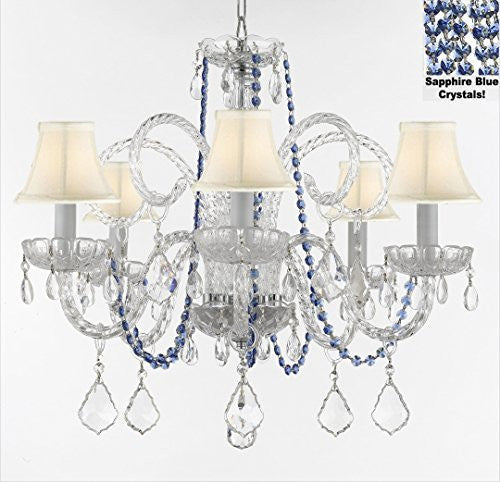 "Authentic All Crystal Chandelier Chandeliers Lighting With Sapphire Blue Crystals And White Shades! Perfect For Living Room, Dining Room, Kitchen, Kid'S Bedroom! H25"" W24"" - A46-B82/Sc/Whiteshades385/5"