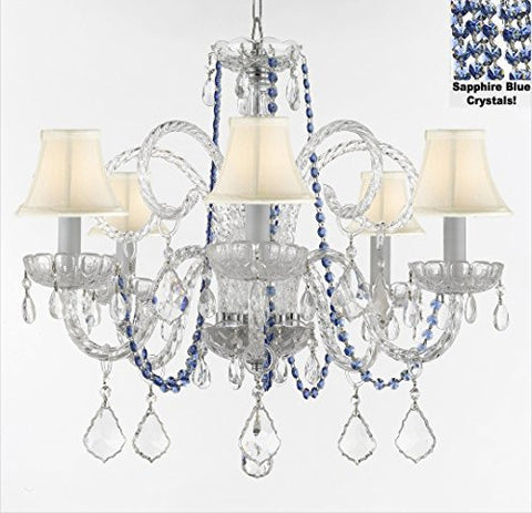 "Authentic All Crystal Chandelier Chandeliers Lighting With Sapphire Blue Crystals And White Shades Perfect For Living Room Dining Room Kitchen Kid'S Bedroom H25"" W24"" - A46-B82/Sc/Whiteshades385/5"