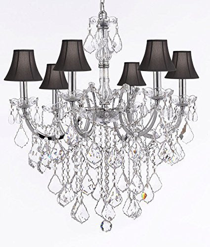 "Maria Theresa Chandelier Lighting Empress Crystal (Tm) Chandeliers H30 ""X W22"" Chrome Finish With Black Shade - F83-Sc/Blackshade/B12/Chrome/2528/6"